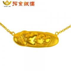 3D硬金桃心项链 4.36g