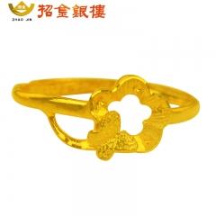时尚蝴蝶花气质女款千足金戒指 1.66g