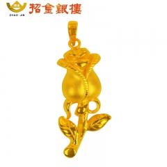 3D硬金金玫瑰吊坠 3.25g