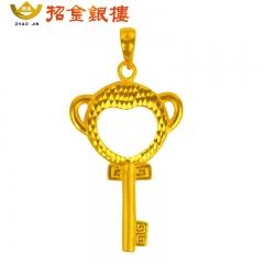 3D硬金小猴祥瑞钥匙吊坠 2.17g