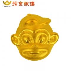 3D硬金小猴头吊坠 0.99g