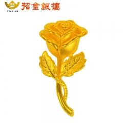 3D硬金优雅金玫瑰吊坠 8.04g
