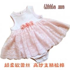 外贸原单婴儿连衣裙连体衣哈裙纱裙 粉色 12M(12个月)