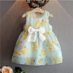 夏季新款韩国风女童网纱连衣裙小花公主裙爆款清凉 黄色 11码