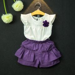 韩版童装韩国童装女童夏季新款飞袖t恤+紫色短裤套装配胸花 紫色 7码