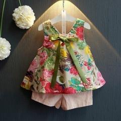 夏季新款女童公主薄款洋气碎花无袖上衣+短裤两件套 花花 7码