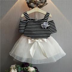 夏装新韩版女童甜美公主条纹短袖T恤+蕾丝纱裙套装 蕾丝 7码
