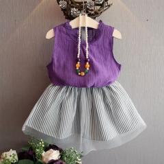 夏季时尚气质韩版无袖T恤+网纱条纹短裙两件套套装黑色紫色 黑色 7码(90)