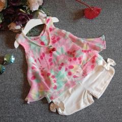 夏季新款韩版女童花朵雪纺吊带衫加蝴蝶结短裤套装 碎花 7码