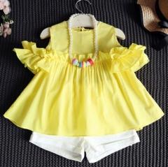 夏季女童小可爱露肩木耳边袖娃娃衫+短裤两件套爆款 黄色 7码(90)