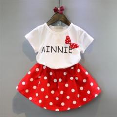 韩版童装韩国童装女童夏季新款甜美波点短袖t恤+短裙套装 白色 7码