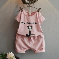 夏装新款男女童可爱卡通短袖T恤+中裤两件套 粉色 120