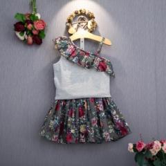 夏装新品女复古花层层木耳斜边吊带衫+短裙套装潮露肩 花边 7码