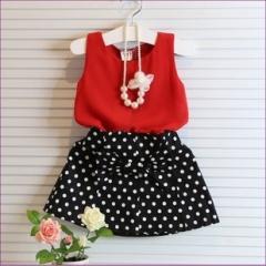 新款夏装女童气质圆点雪纺套装 雪纺上衣波点短裙 无项链 红+黑 7码