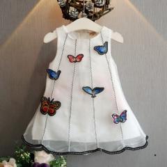 夏新款女童立体布贴白色蝴蝶纱质连衣裙背心裙爆款清新风格 白色 11码