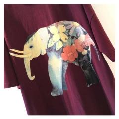 YSBS一衫伴水大象动物图案宽松大码女装纯棉圆领套头T恤新款上衣
