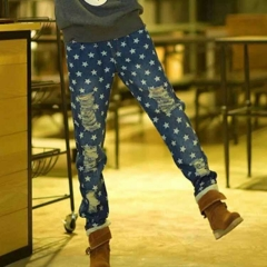 YSBS一衫伴水破洞牛仔裤星星个性牛仔休闲裤