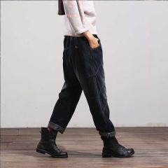 YSBS一衫伴水水洗做旧磨白全棉超宽松牛仔萝卜裤休闲裤长裤 蓝色 M