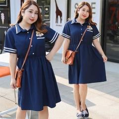 轩辰制衣   大码女装胖妹妹特大加肥夏装学院风连衣裙子 蓝色 XL
