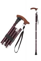 KINGGEAR老人折叠拐杖 4折5段 可调整长度 沉稳棕色