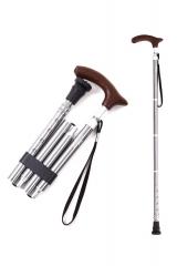 KINGGEAR老人折叠拐杖 4折5段 可调整长度 高级银色