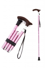 KINGGEAR老人折叠拐杖 4折5段 可调整长度 浪漫粉色