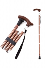 KINGGEAR老人折叠拐杖 4折5段 可调整长度 摩卡棕色