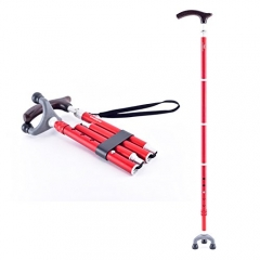 KINGGEAR老人折叠拐杖 4折5段 手工切割抛光模塑 红色磨砂