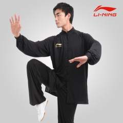 黑色 李宁男式太极服春秋装 太极拳练功服武术表演服