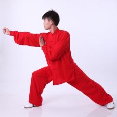 雅鑫健体 免熨烫的棉加丝中式立领男女太极练功服 黄色 款式不分男女 红 码数留言