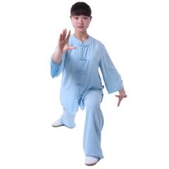 雅鑫健体 棉加丝西式矮领对襟太极服  练功服 表演服 浅蓝色
