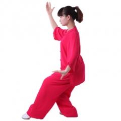 雅鑫健体 雅鑫健体西式矮领对襟棉加丝太极服 玫红色