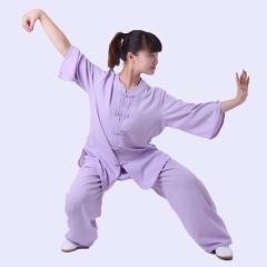 雅鑫健体 棉加丝西式矮领对襟太极服 练功服 表演服 浅紫色
