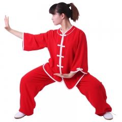 雅鑫健体 西式矮领对襟棉加丝太极服 大红色+白边 款式不分男女