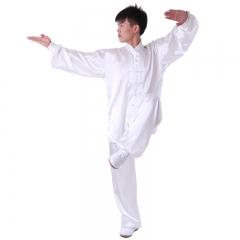 雅鑫健体 弹力纺丝中式立领对襟太极拳服装练功服 白色 款式不分男女 白色 码数留言