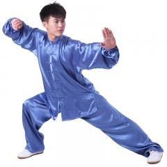 雅鑫健体 弹力纺丝中式立领对襟太极拳服装练功服 白色 款式不分男女 蓝色 码数留言