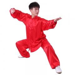 雅鑫健体 弹力纺丝中式立领对襟太极拳服装练功服 白色 款式不分男女 红 码数留言