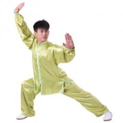 雅鑫健体 弹力纺丝中式立领对襟太极拳服装练功服 白色 款式不分男女 绿 码数留言