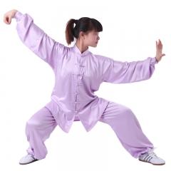 雅鑫健体 弹力纺丝中式立领对襟太极拳服装练功服 白色 款式不分男女 浅紫色 码数留言