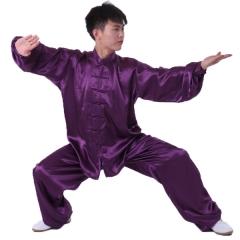 雅鑫健体 弹力纺丝中式立领对襟太极拳服装练功服 白色 款式不分男女 深紫色 码数留言