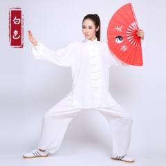 新品棉加丝太极服 男女太极拳练功服装 春夏秋太极服装 白色 码数留言