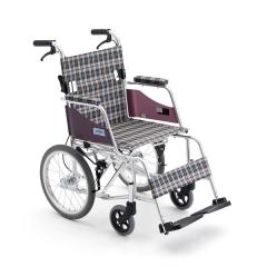三贵Miki手动轮椅车MOCC-43JL连动刹车轻便折叠老人轮椅车免充气
