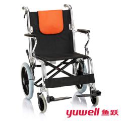 鱼跃轮椅老人手推车H056C铝合金折叠轻便轮椅车便携残疾人代步车