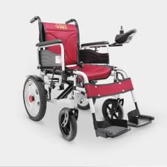 辅森6001 电动轮椅 老人残疾人折叠轮椅 红色手电两用钢管小轮款