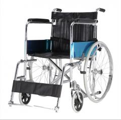达洋老年轮椅车加粗钢管免充气可折叠轮椅 手动老人轮椅 经典款DY01809