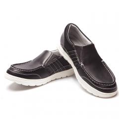 Pansy男鞋中年圆头软底加肥黑色大码皮面防滑休闲鞋一脚蹬HDN1022