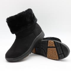 Pansy秋冬季女雪地靴保暖女靴加绒圆头防水布短靴4574