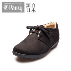 Pansy专柜同款冬女鞋保暖舒适软底轻加绒保暖棉鞋1506