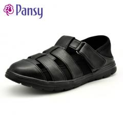 Pansy夏季男休闲镂空加肥大码中老年爸爸鞋凉鞋HDN1016