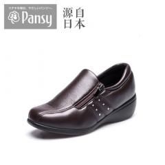 Pansy春秋健康中老年女休闲鞋坡跟圆头套脚拇外翻加肥妈妈鞋UD7351